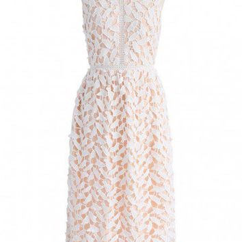 Leaf for Elegance Crochet Sleeveless Dress in White
