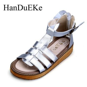 New 2017 Summer Genuine Leather Women Shoes Casual Fashion Women Gladiator Sandals T-S