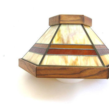 vintage stained leaded glass hanging light fixture // kitchen lighting / amber glass chandelier