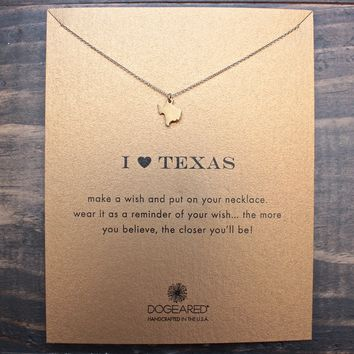 dogeared I ♥ texas Pendant Necklace, gold dipped