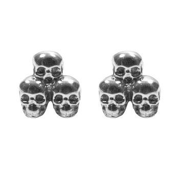 Skull Ear Studs Three Skulls in 9ct Gold Hand Sculptured in The UK
