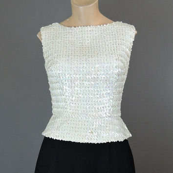 Vintage 1950s White Sequined Top with Fitted Waist and Short Peplum, fits 34 inch bust