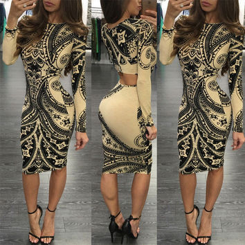 Factory Directly Sale Women Autumn Elegant Retro Back Hollow Out Printed Vestidos Work Office Business Party Pencil Sheath Dress
