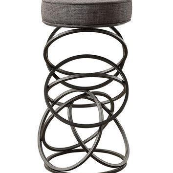 Pub-Height Metal Accent Stool With Interconnecting Circles Base , Gray