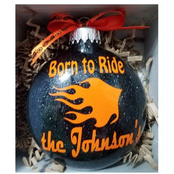 Personalized Motorcycle Ornament , Biker Gift, Gift for Him, Glitter Christmas Ornament, White Elephant Gift