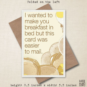 Breakfast In Bed - Mother's Day Greeting Card - Funny Card - Birthday Card - Miss You Card - Card For Spouse - A2 or A9 Custom Card