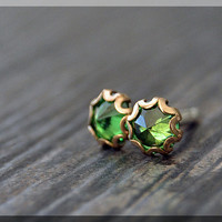 Emerald Earrings. Gold Filled May Emerald Post Earrings, Birthstone Earrings, Handmade Gemstone earrings, Emerald Stud earrings