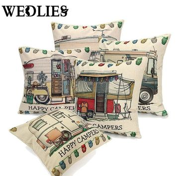 0af752b6a87 Pillows Case Cover Happy Campers Cut Bus Home Linen Square Throw Invisible  Zipper Design 5 Styles