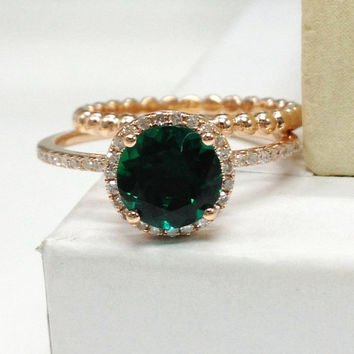Diamond Wedding Ring Set!Emerald Engagement Ring 14K Rose Gold!7mm Round Cut Treated Green Gemstone,Bridal Ring set,Plain Gold Bead style