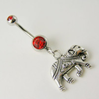 Belly Button Ring Jewelry ~ Lucky Sacred Elephant on Red Gem 14g 316L navel piercing jewelry Tribal Bohemian Buddhist Gypsy