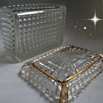 Vintage Jeanette Clear Ribbed Glass Sunburst Gold Trimmed Jewelry Trinket Cigarette Box Depression Glass