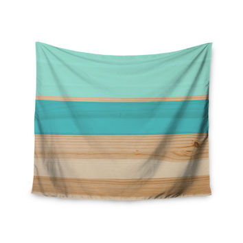 "KESS Original ""Spring Swatch - Blue Green"" Teal Wood Wall Tapestry"