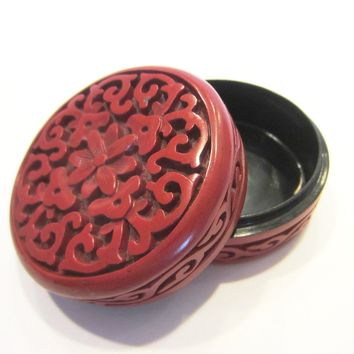 Miniature Cinnabar Round Trinket Box Asian Floral Carving Geometric Design
