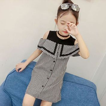 Fashion Children Cotton Baby Girl Plaid Print Sleeveless Princess Party Dress Casual Clothes 2018