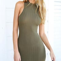 CUTE GREEN SEXY VEST SHOW BODY DRESS
