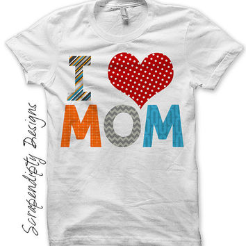 Iron on Mothers Day Shirt PDF - I Love Mom Iron on Transfer / First Mothers Day Outfit / I Heart Mom Tshirt / Kids Boys Clothing IT184B-C