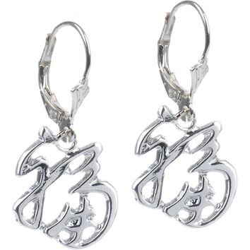 Silver Tone Luck Chinese Symbol Earrings