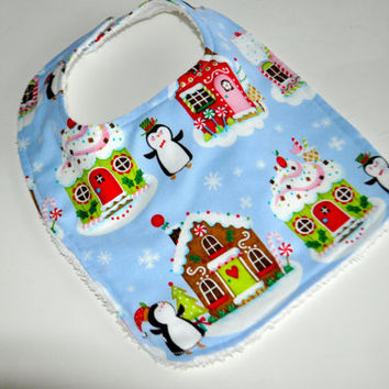 Christmas baby bib, Penguin baby bib, Holiday baby bib, Winter baby bib, Christmas bib, Penguin bib, Holiday bib, Winter baby bibs
