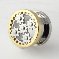 Gold Anodized Movable Steampunk Web Stainless Steel Screw Fit Double Flared Plugs Flesh Tunnel Plug
