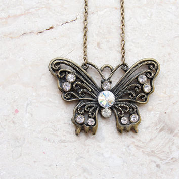 Woodland Butterfly Necklace Brass and Rhinestones
