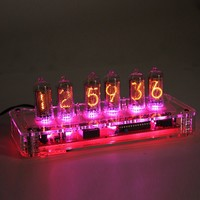 Classic Nixie Tube Clock Kit, IN-82 Tubes, See-Through Acrylic Base