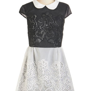 Chi Chi London Vintage Inspired Short Length Short Sleeves A-line Swirls Unfurl Dress in Black