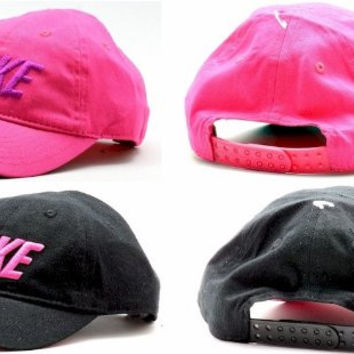Nike Infant Girl's Embroidered Nike Logo Cotton Baseball Cap Sz 12/24M (Black)
