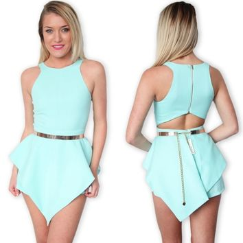 MINT HIGH NECK CUT OUT BACK BACKLESS PEPLUM BODYCON PLAYSUIT JUMPSUIT 6 8 10 12