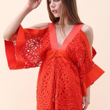 Ardent Sunflower Crochet Cold-Shoulder Playsuit in Red