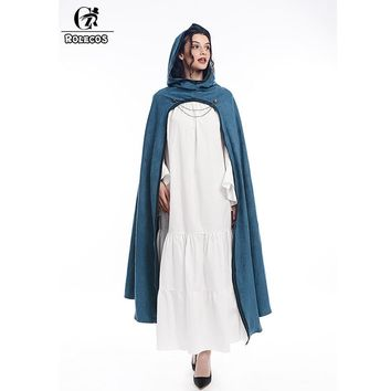ROLECOS Medieval Hooded Cloak Cosplay Costume Long Capes Halloween Costume for Men Women Wrap Party Fancy Dress