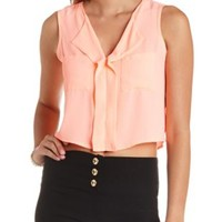 Sheer Chiffon Swing Crop Top by Charlotte Russe