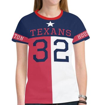 Houston Football #32 State of Texas Flag Women's Mesh Jersey T-Shirt