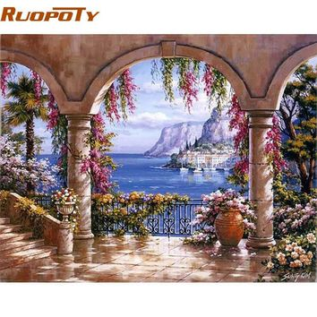 RUOPOTY Flower Gallery DIY Painting By Numebrs Wall Art Decor Handpainted Oil Painting On Canvas For Living Room Gift Artwork