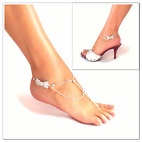 Barefoot sandals - rhinestone bling & natural pearls - wedding accessories  - beach wedding - beachwear - sandal  - nude shoes - ankle
