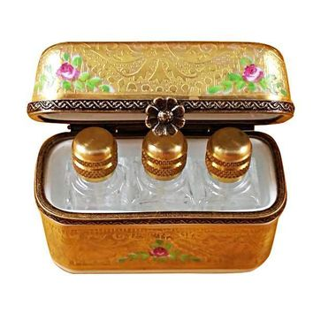 GOLD FLOWERY W/3 BOTTLES LIMOGES BOXES