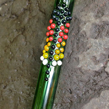 Native Medicine: Peyote Bead Thunderbird Feather Glass Pipe Hitter