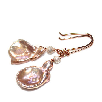 Large Pearl Earrings Petal Pearl Jewelry Rose Gold Earrings Rose Gold Jewelry Large Keshi Pearl Valentines Gift Bridal Jewelry FizzCandy