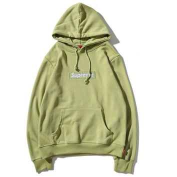 Champion autumn and winter classic embroidered men and women hooded sweater Green