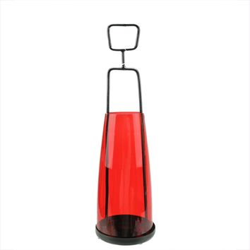"14.5"" Retro Inspired Transparent Red Decorative Glass Tea Light Candle Holder"