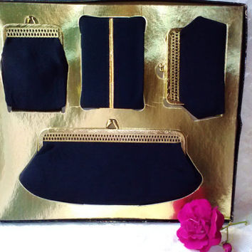 Vintage NIB Evening Bag Purse Gift Set 4 Black Cloth Gold Brass Metal Frame Satin Lining Cosmetic or Evening Clutch Change Tissue Cigarette