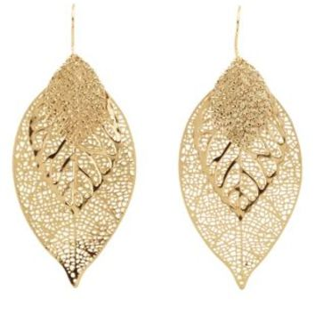 Triple-Layered Leaf Earrings by Charlotte Russe - Gold
