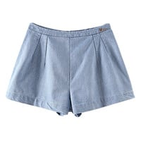 ROMWE Zippered Goose Embellished Light Blue Shorts