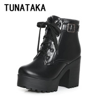 Tunataka High Heel Thick Sole Combat Ankle Boots for Women Platform Lace Up tactical Boots Fashion Plus Size Booties