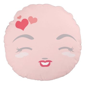 Cute Kawaii Fall in Love And Happy Face - Two Face Round Pillow