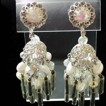 Chandelier Earrings Shoulder Dusters Silver Filigree Iridescent Beads Tube Beads Crystal Beads Bridal Wedding Vintage