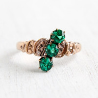 Antique 9k Rose Gold Victorian Emerald Green Triple Stone Ring- Vintage Late 1800s Size 7 1/2 Three Stone Bypass Fine Jewelry