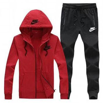 NIKE 2018 autumn and winter new casual hooded jacket trousers running clothes two-piece suit Red