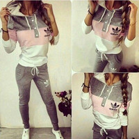 Fashion Multicolor Hoodie Pants Trousers Set Two-Piece