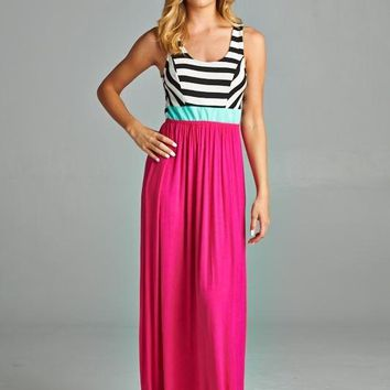 Criss Cross Back Striped Maxi - Pink