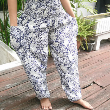 Yoga White Elephant Pants Harem Boho Style Printed Design Beach Hippie Massage Rayon pants Gypsy Thai Batik Women Tribal Plus Size Tank